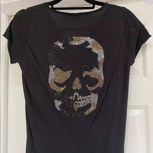 new ZADIG VOLTAIRE Tunisien black skull shirt sz M